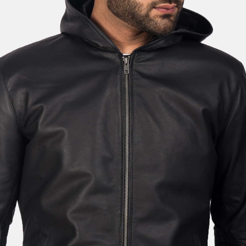 Men's Andy Matte Black Hooded Leather Jacket 6
