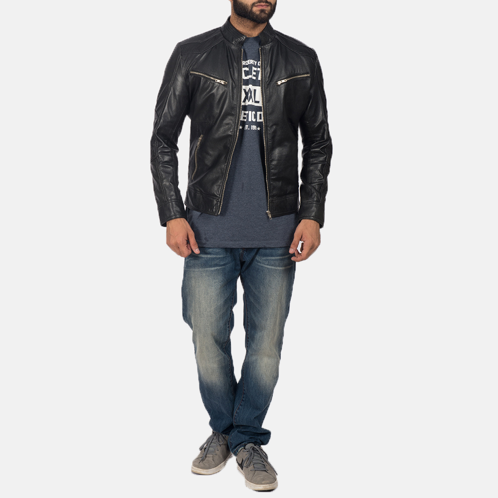 Men's Mack Black Leather Biker Jacket 2