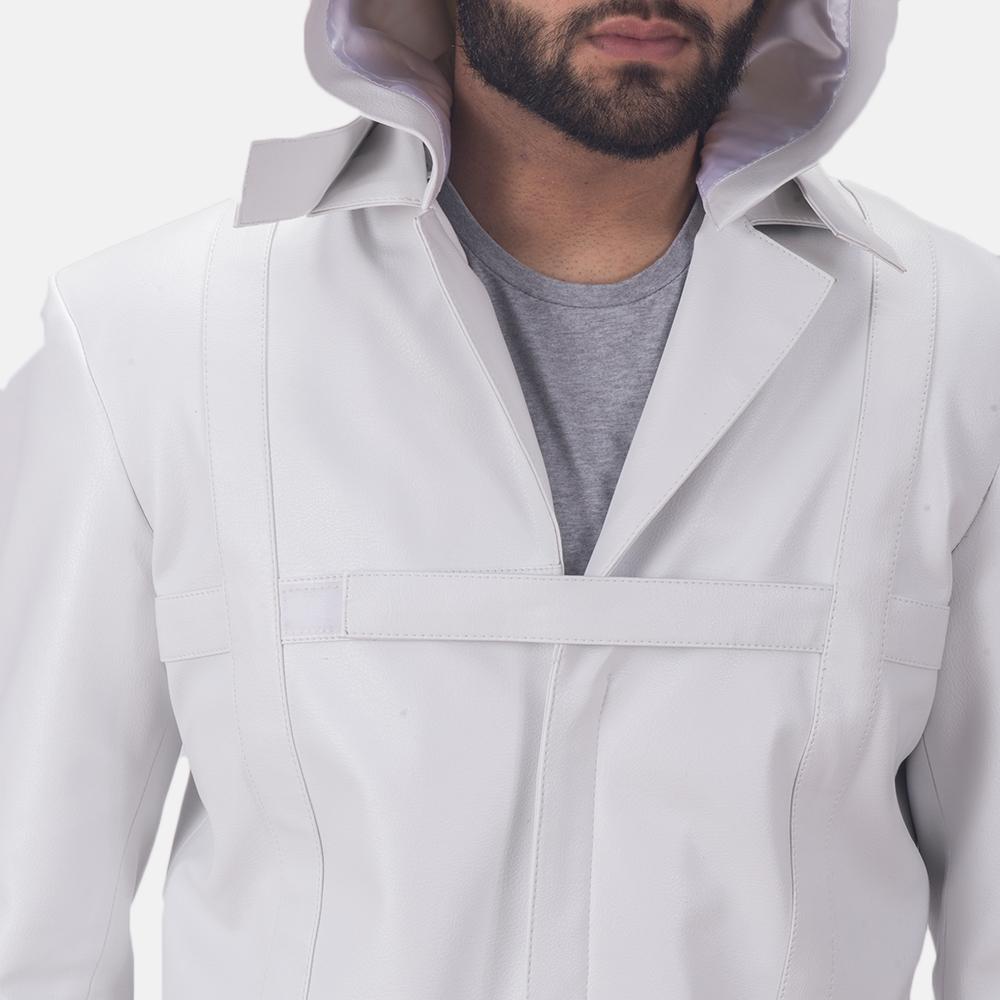Auburn Cane White Leather Coat 6