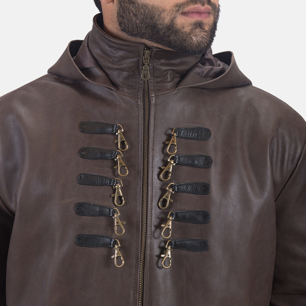 Men's Architect Brown Leather Trench Coat 8