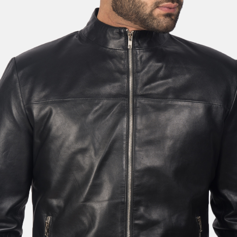 Mens Adornica Black Leather Jacket 6