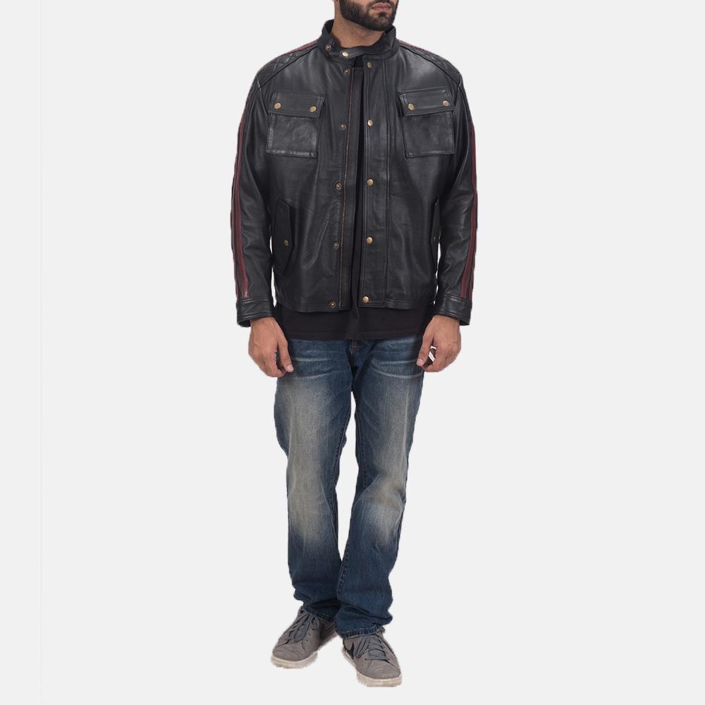 Men's Darren Black Leather Biker Jacket 2