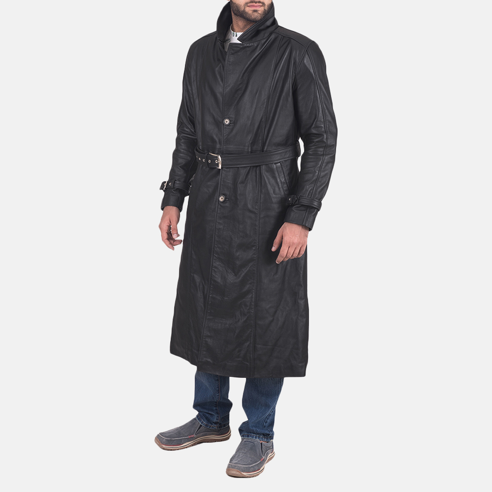 Mens Daniel Black Leather Trench Coat 2