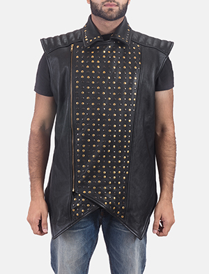 Mens Dominio Deval Black Leather Studded Vest 1