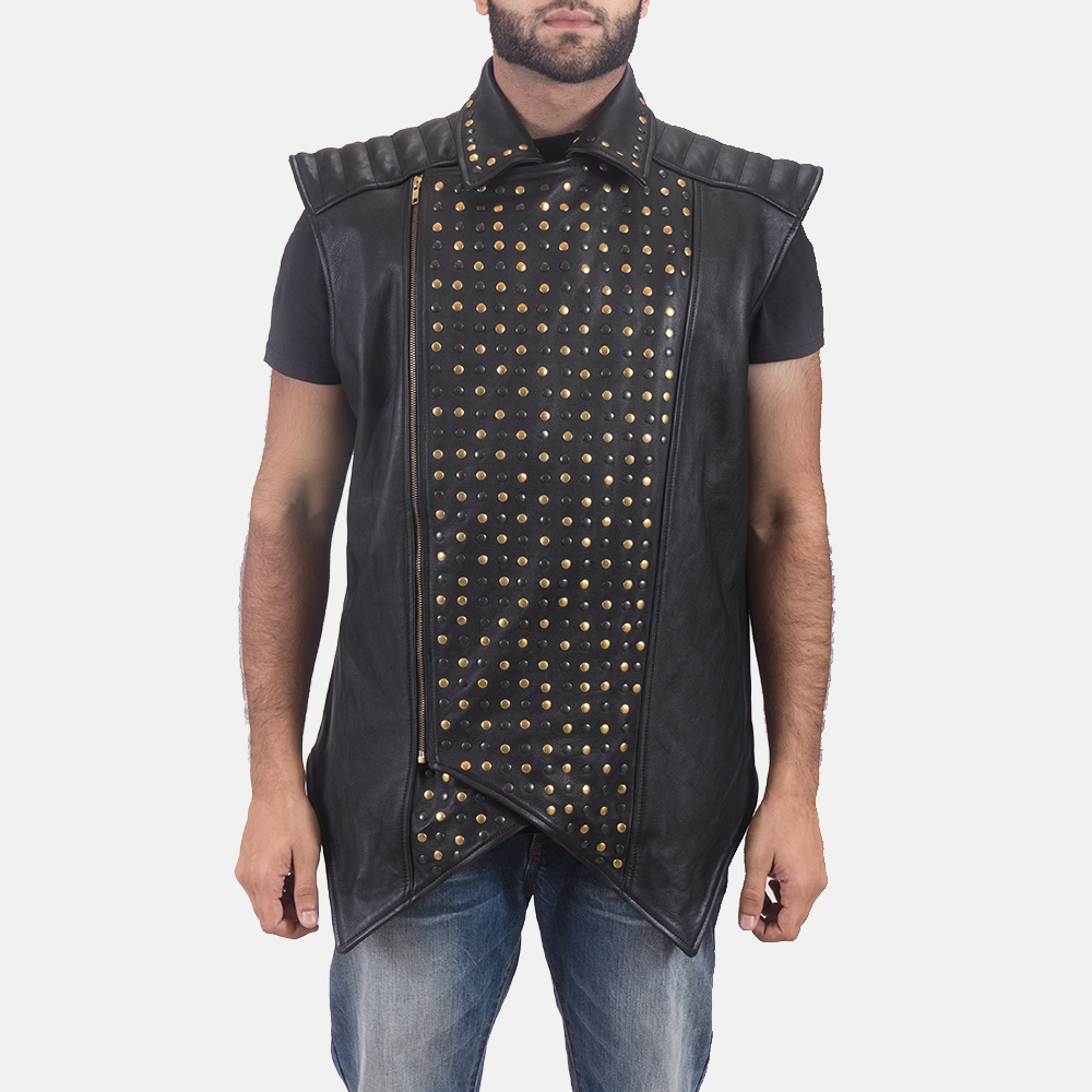 Mens Dominio Deval Black Leather Studded Vest 2
