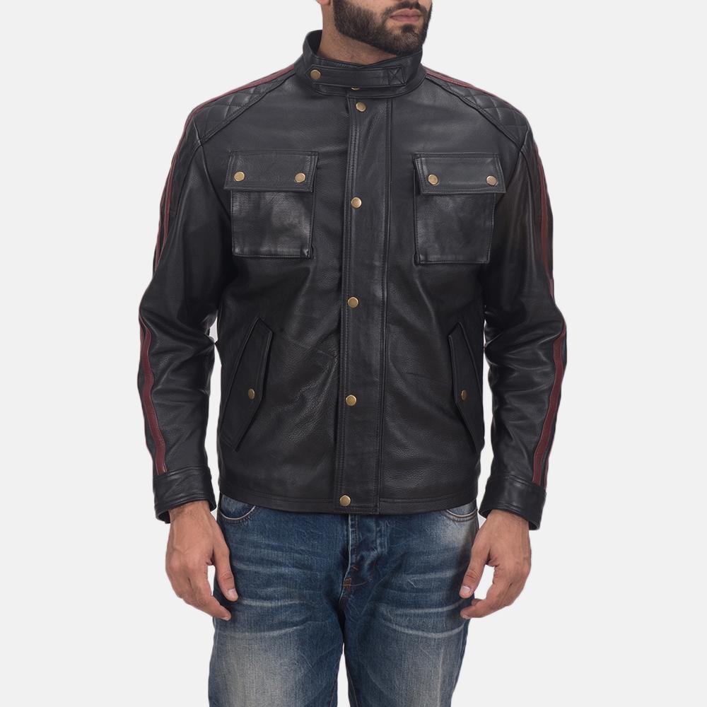 Men's Darren Black Leather Biker Jacket 1