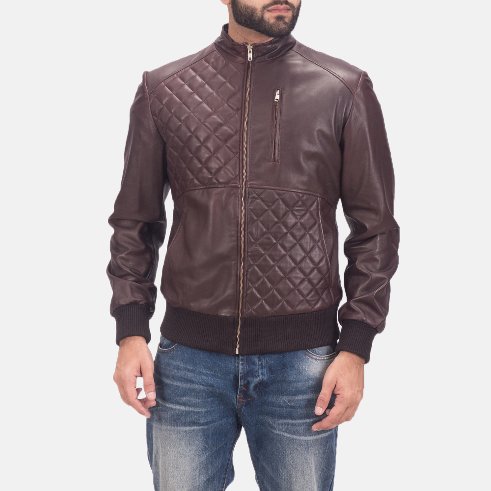 Mens Moda Quilted Maroon Leather Bomber Jacket 1