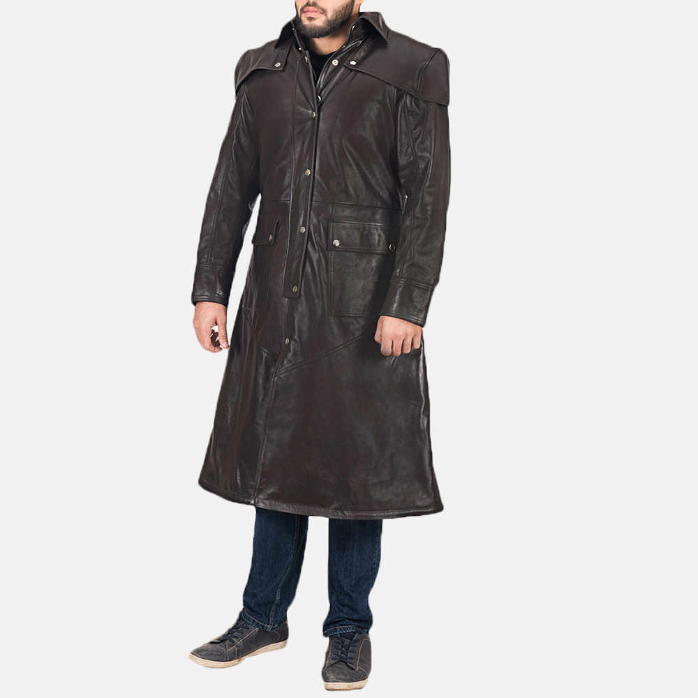 Men's Alexander Brown Leather Duster 3