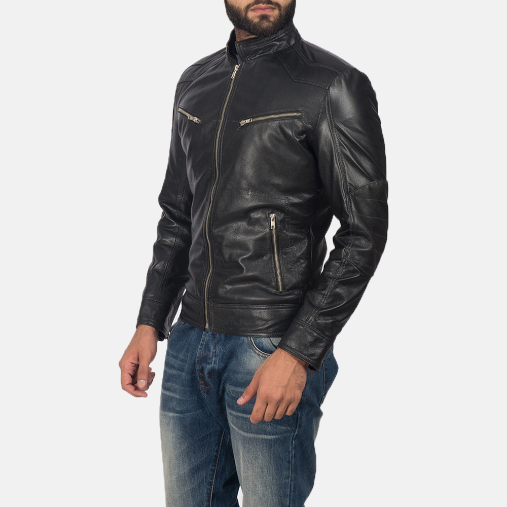 Men's Mack Black Leather Biker Jacket 3