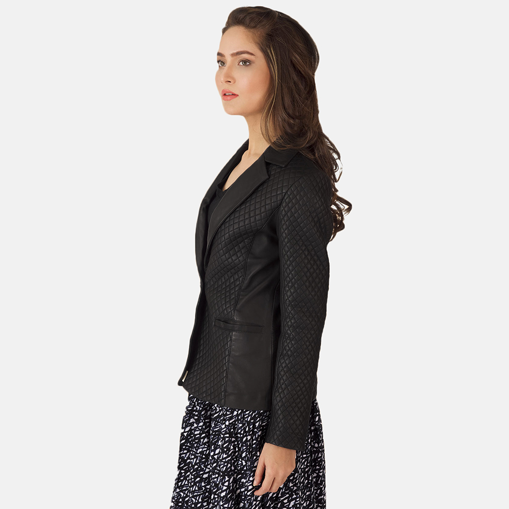 Womens Cora Quilted Black Leather Blazer 4