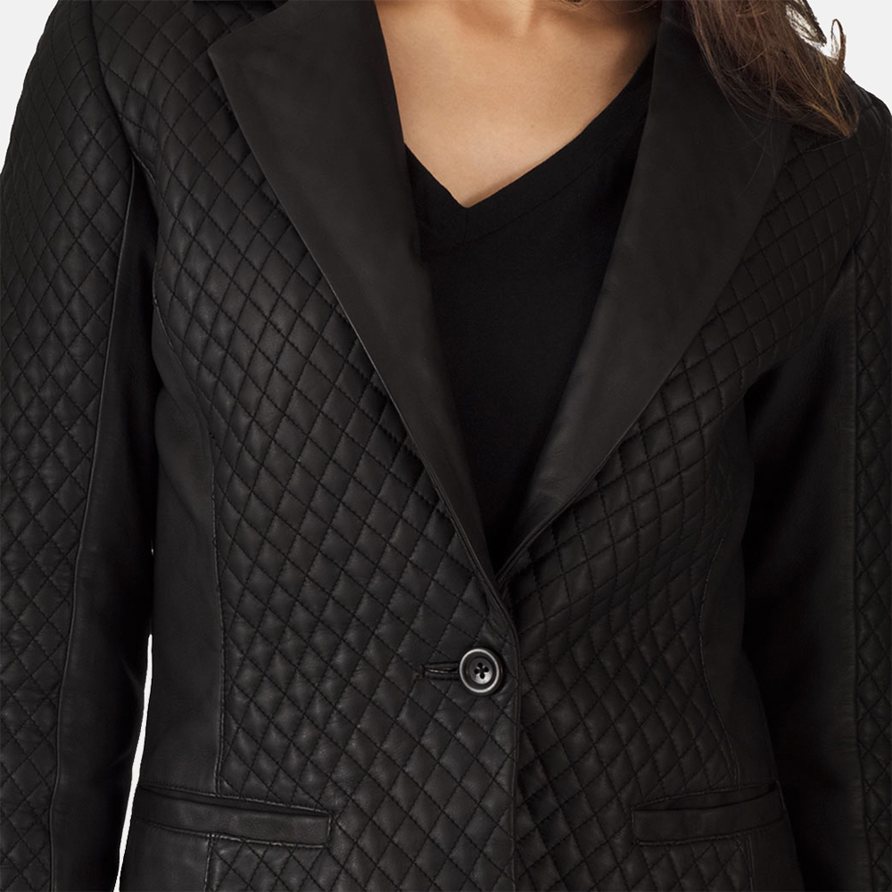 Womens Cora Quilted Black Leather Blazer 5