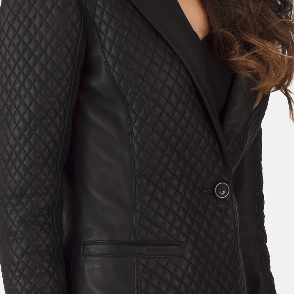 Womens Cora Quilted Black Leather Blazer 7