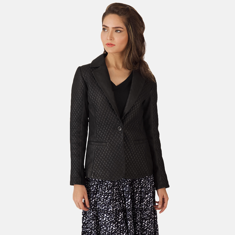 Womens Cora Quilted Black Leather Blazer 6