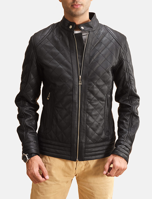 Men's Henry Quilted Black Leather Jacket