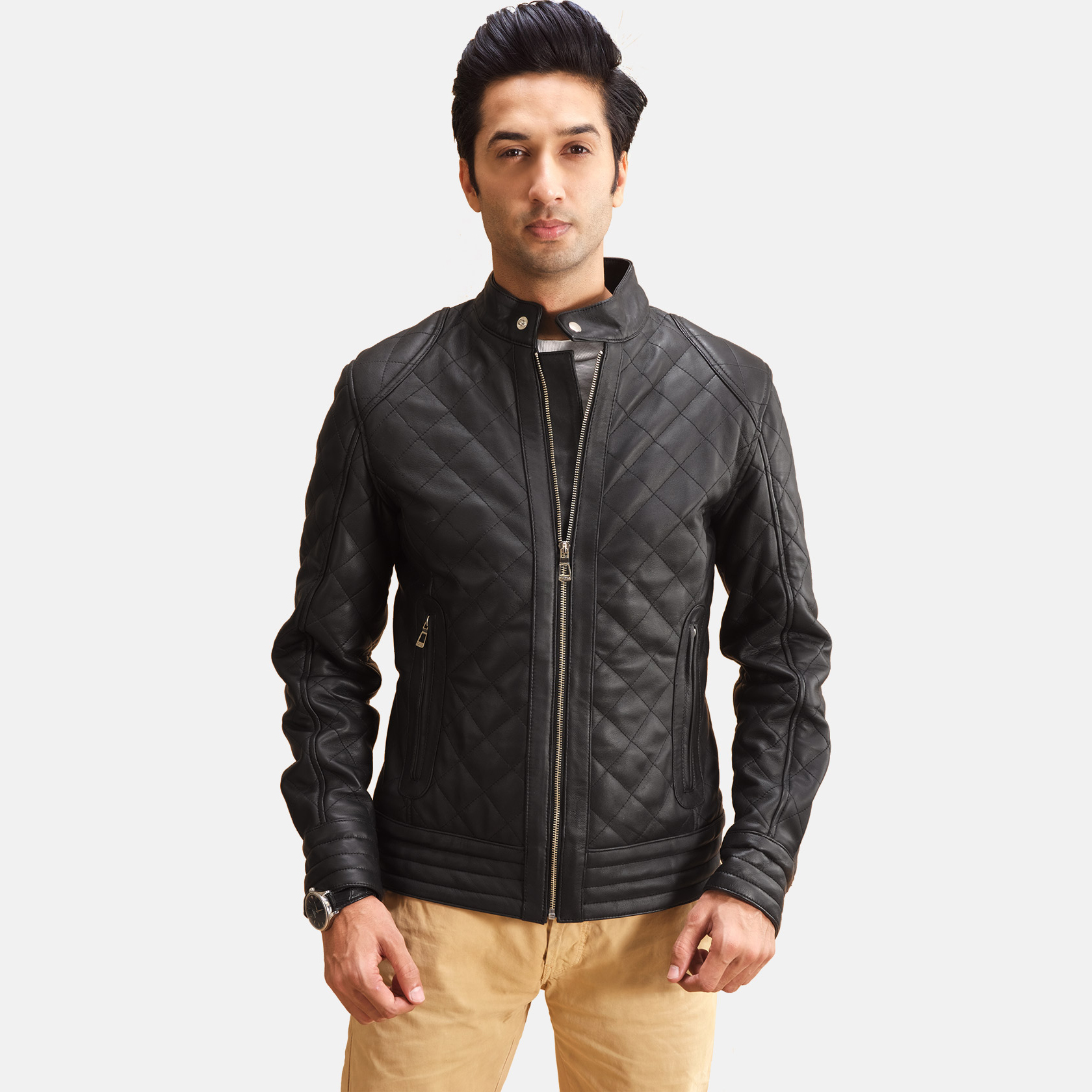 Men's Henry Quilted Black Leather Jacket 1