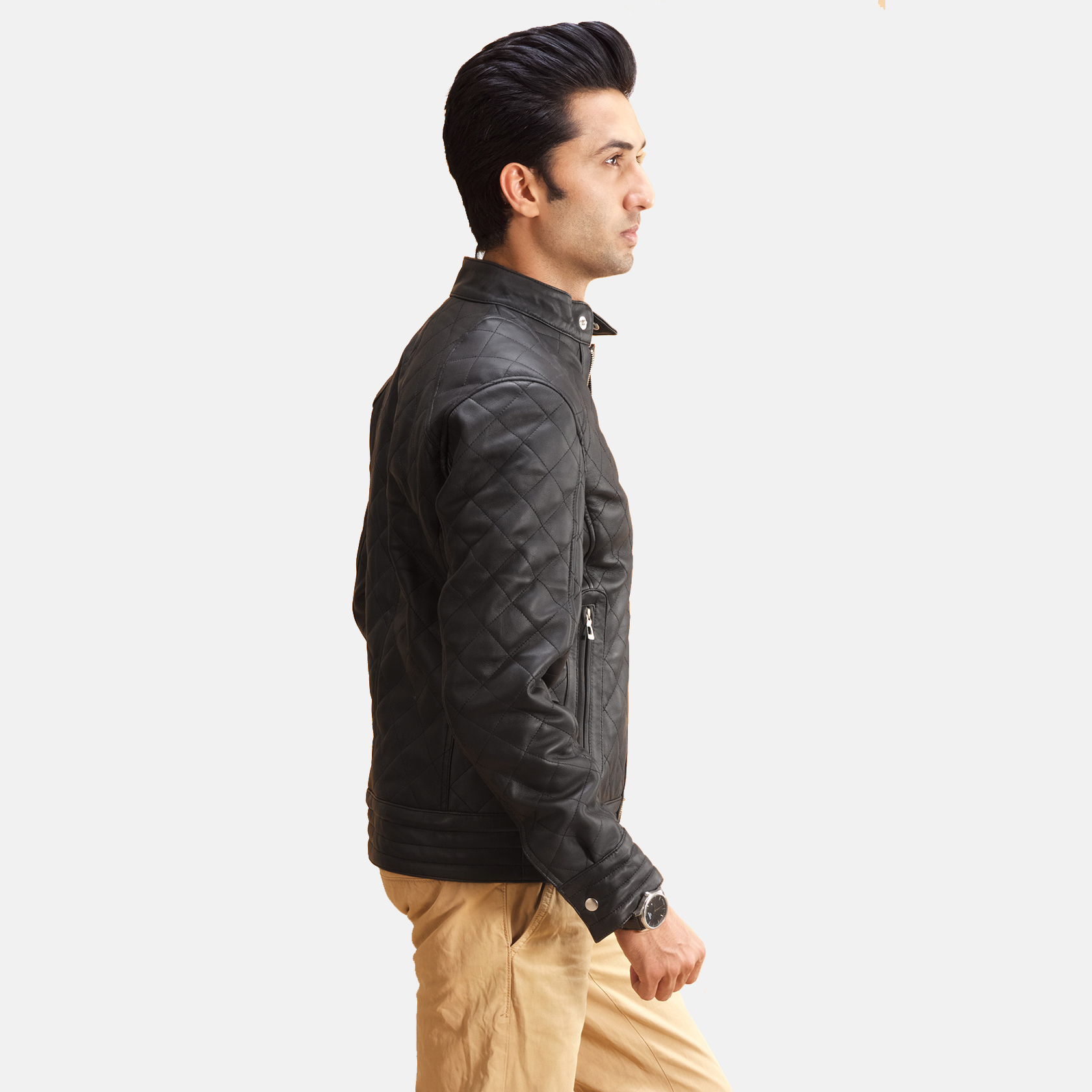 Men's Henry Quilted Black Leather Jacket 5