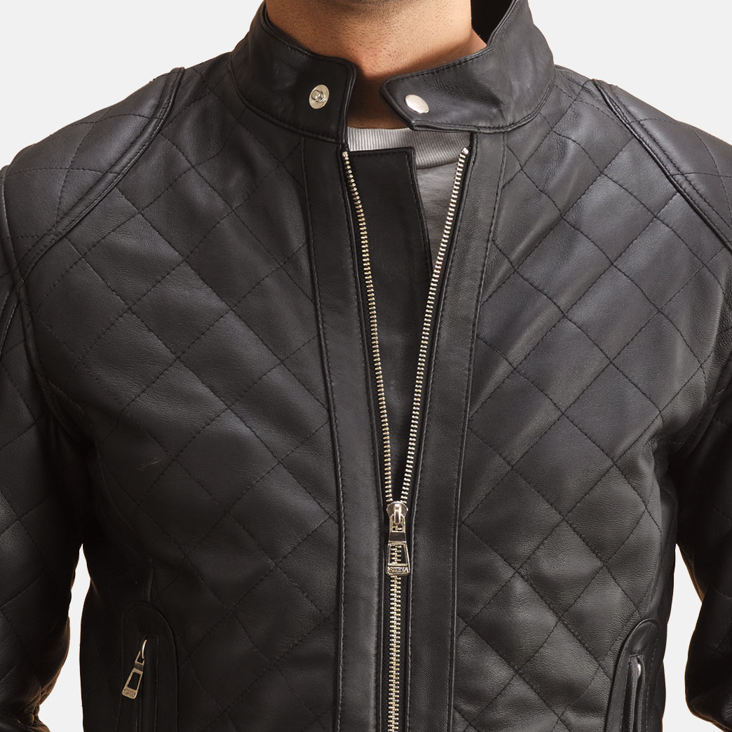 Men's Henry Quilted Black Leather Jacket 2