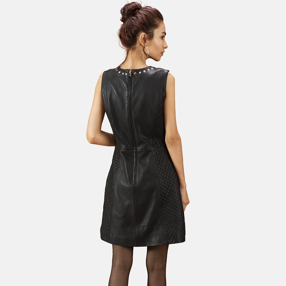 Womens Luxe Black Leather Dress 5