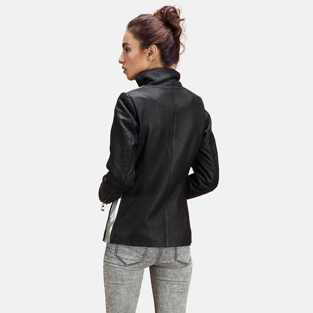Womens Alia Metallic Black Leather Biker Jacket 5