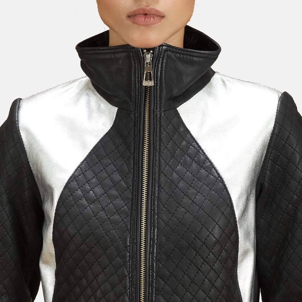 Womens Alia Metallic Black Leather Biker Jacket 4