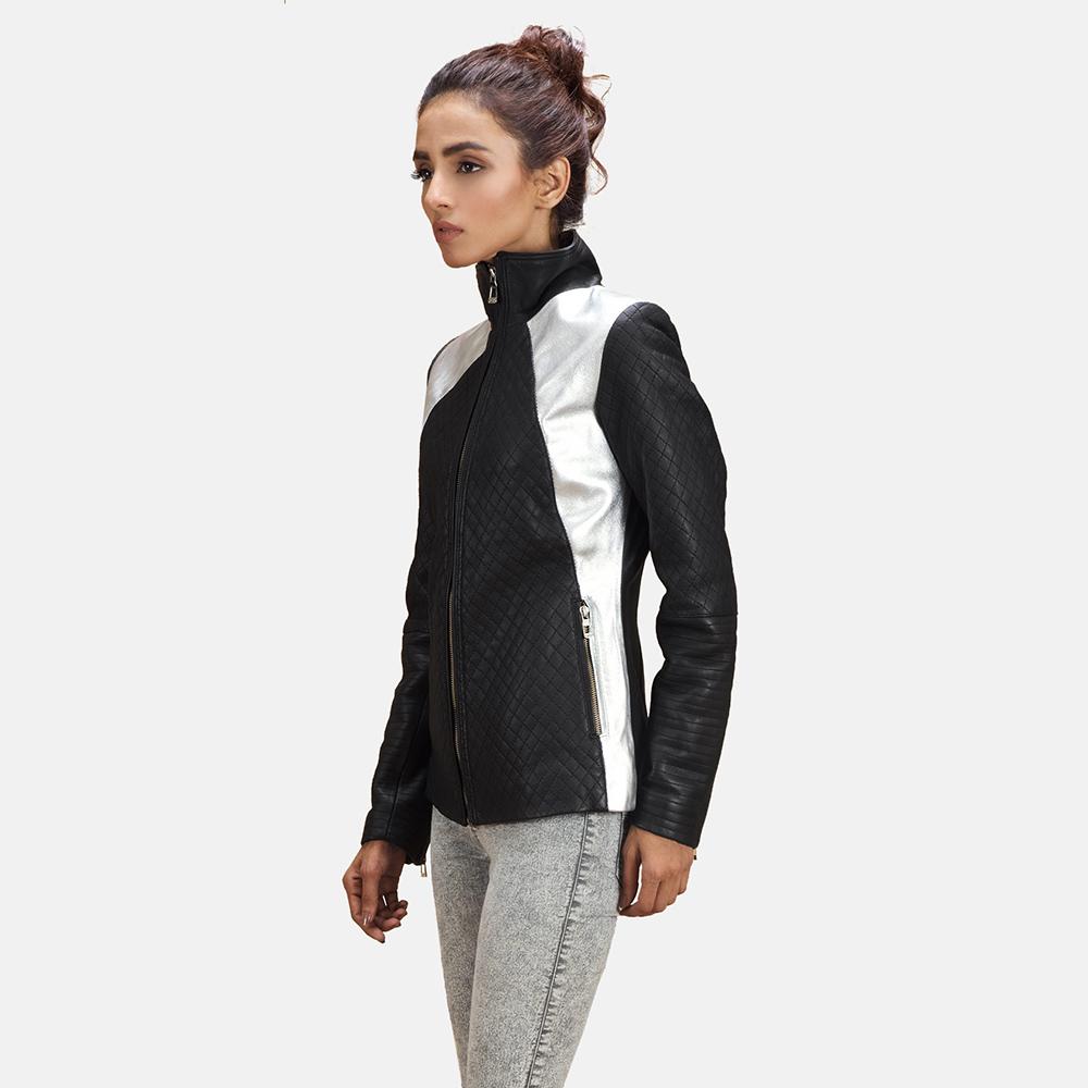 Womens Alia Metallic Black Leather Biker Jacket 3