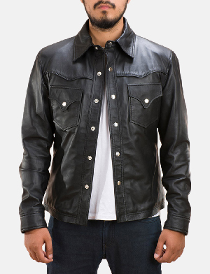 Mens Ranchson Black Leather Shirt