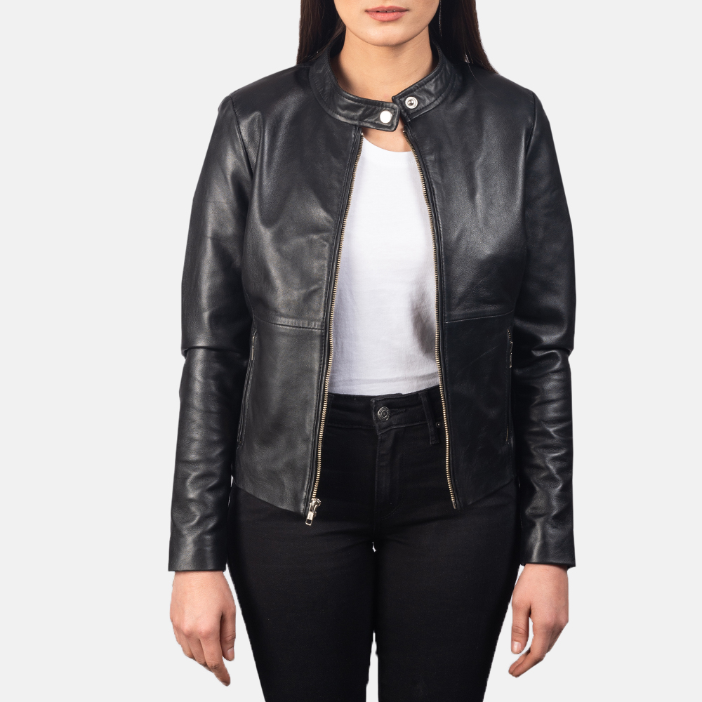 Women's Rave Black Leather Biker Jacket 3