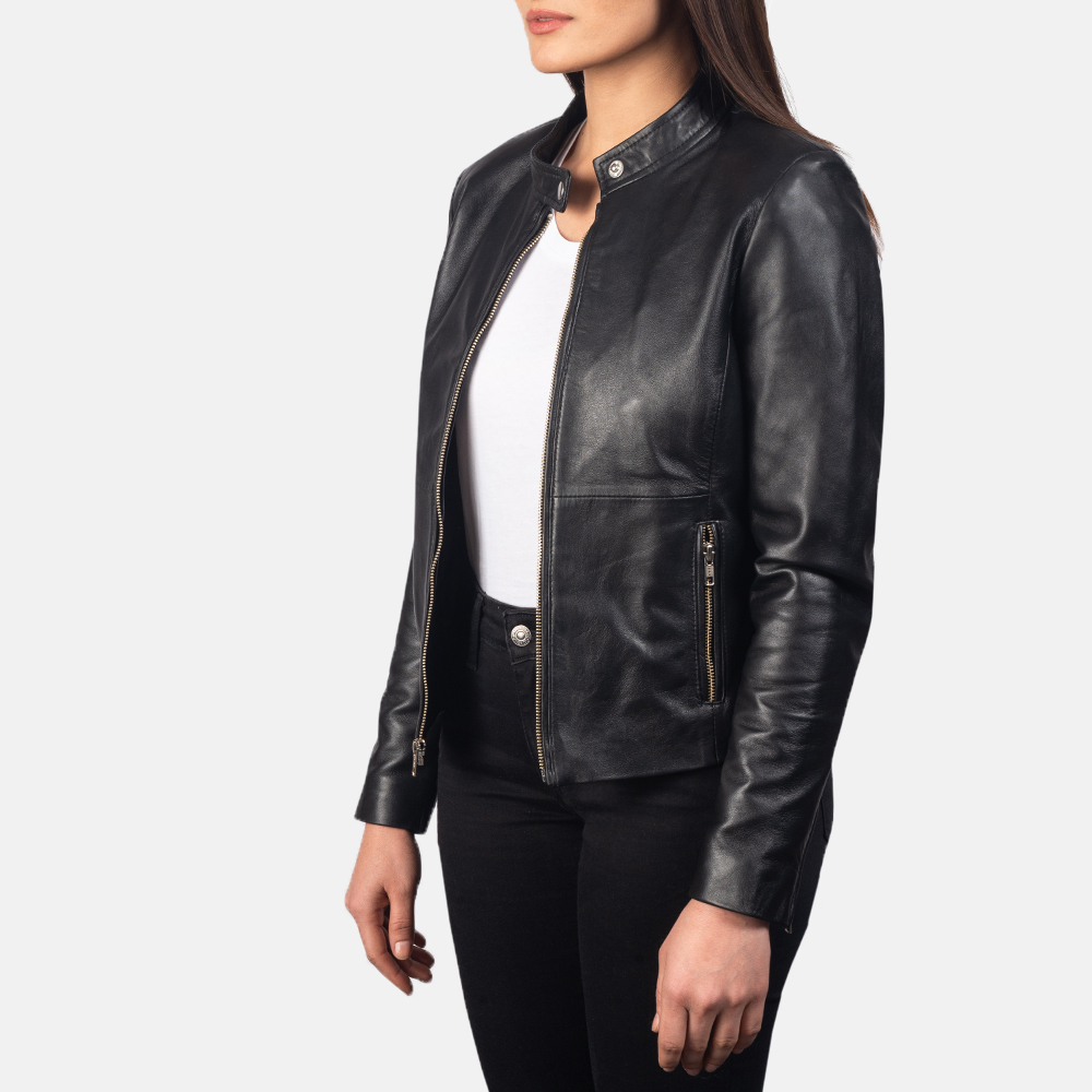 Women's Rave Black Leather Biker Jacket 2