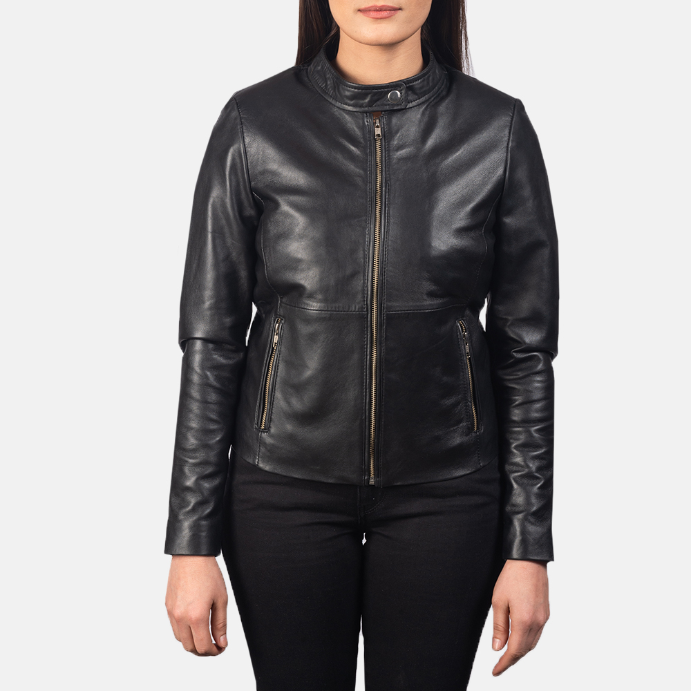 Women's Rave Black Leather Biker Jacket 4