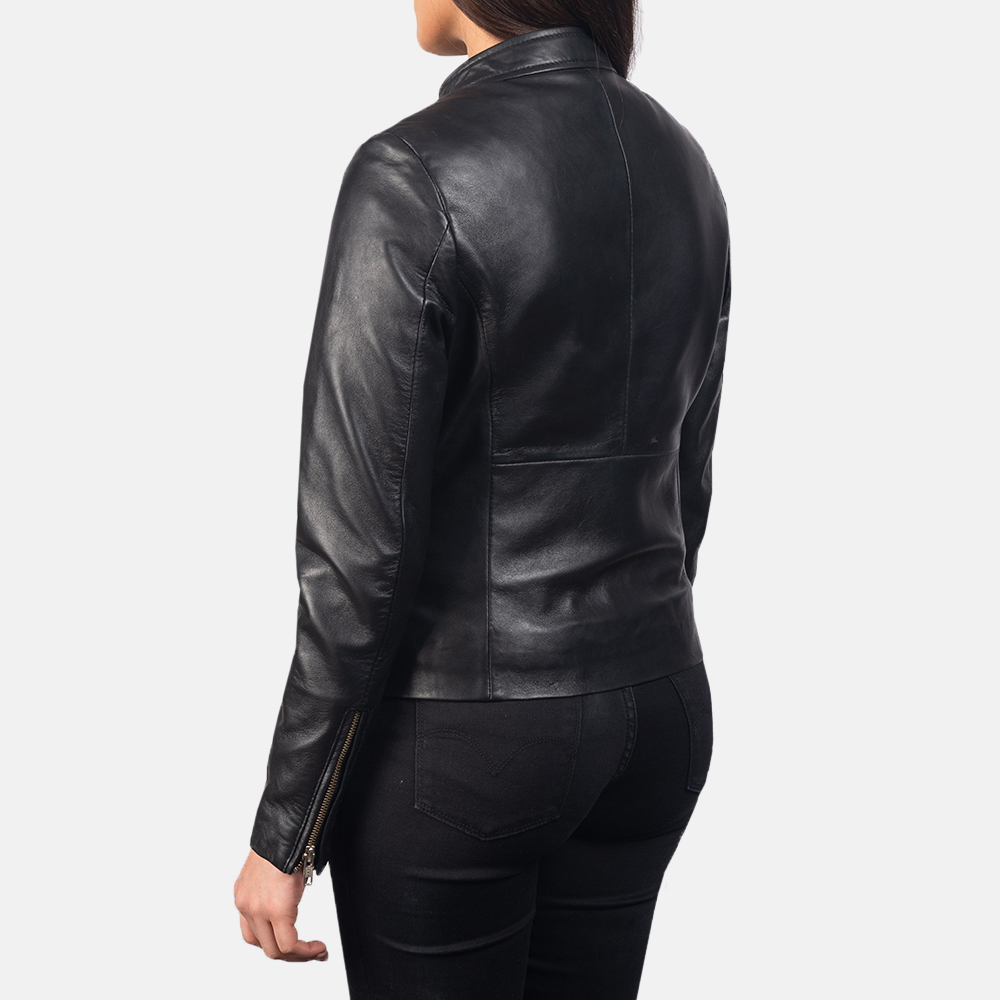 Women's Rave Black Leather Biker Jacket 5