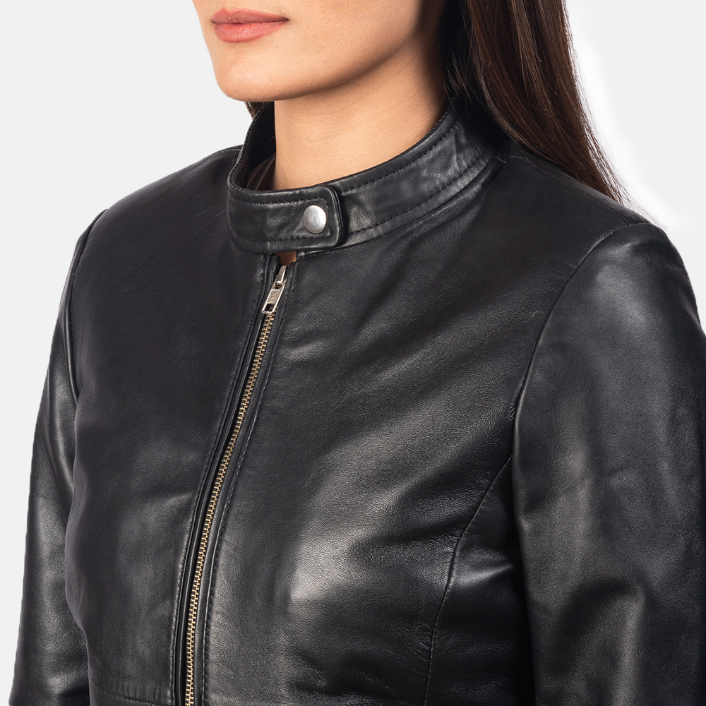 Women's Rave Black Leather Biker Jacket 6