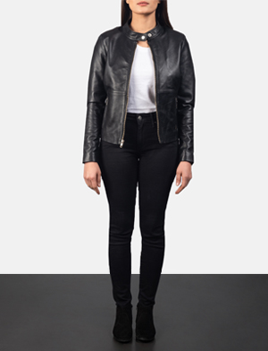 Women's Rave Black Leather Biker Jacket