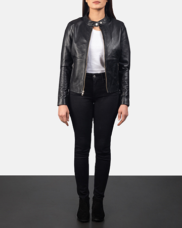 Women's Rave Black Leather Biker Jacket 1