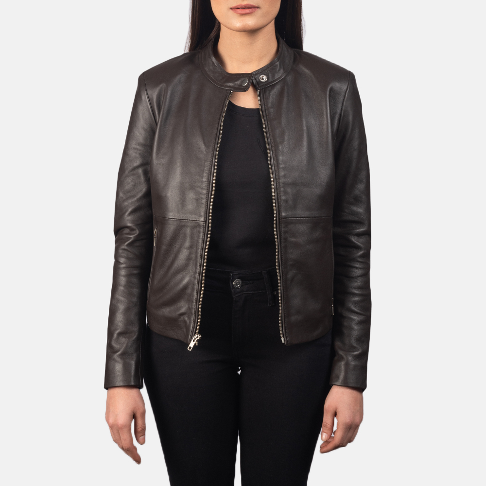 Women's Rave Brown Leather Biker Jacket 3