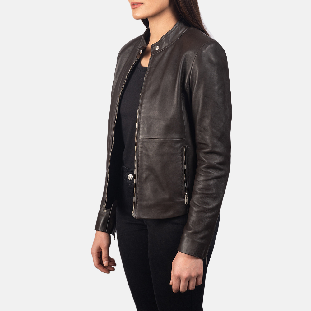 Women's Rave Brown Leather Biker Jacket 2