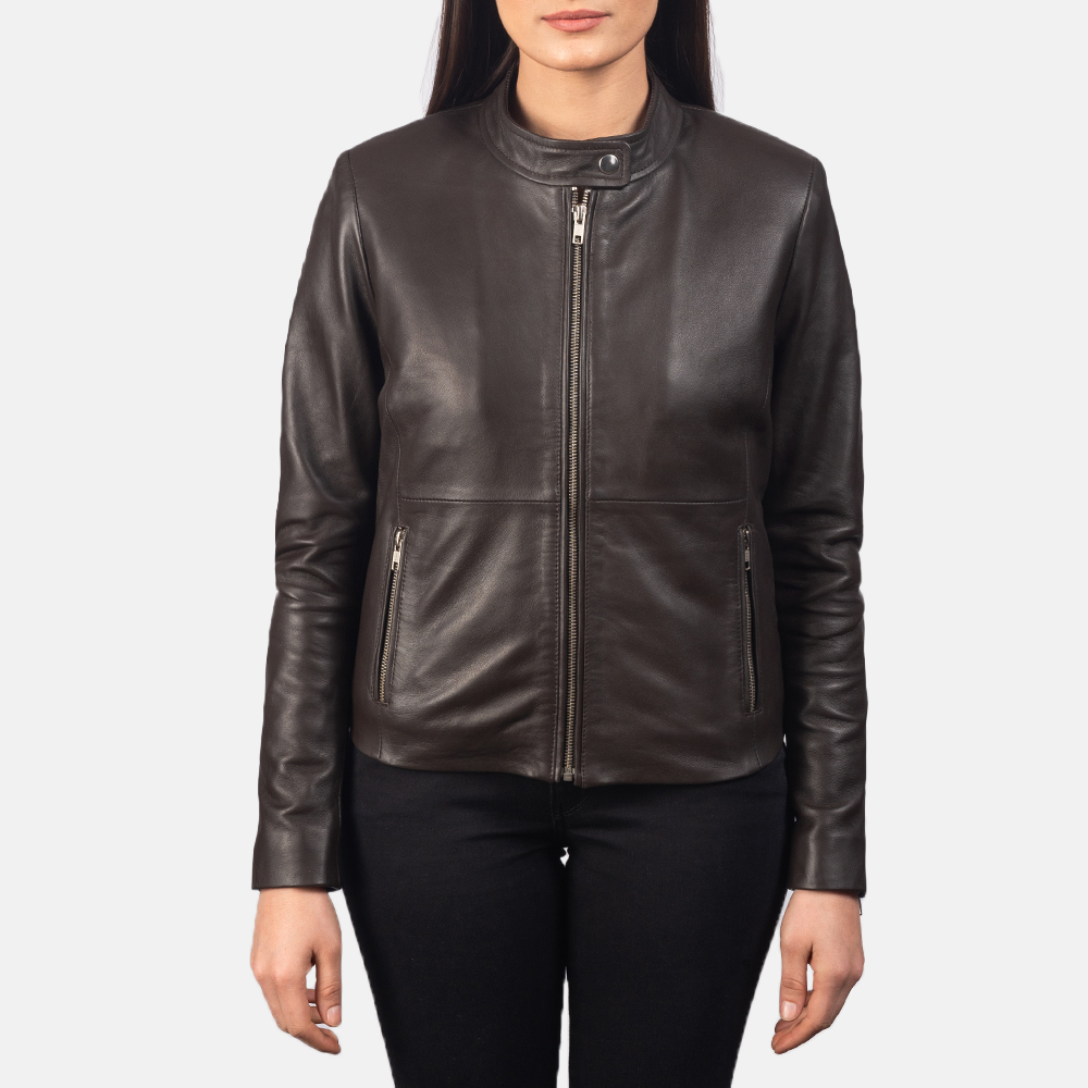 Women's Rave Brown Leather Biker Jacket 4