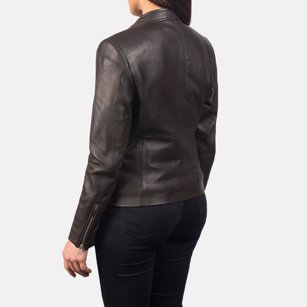 Women's Rave Brown Leather Biker Jacket 5