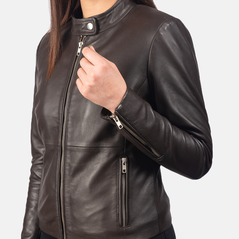 Women's Rave Brown Leather Biker Jacket 6