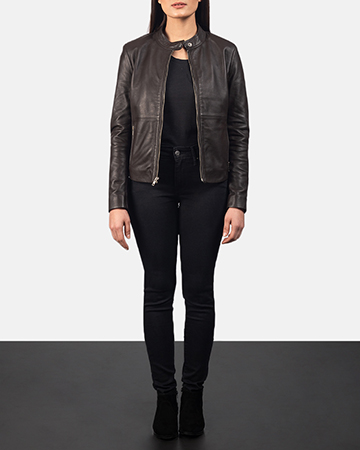 Women's Rave Brown Leather Biker Jacket 1