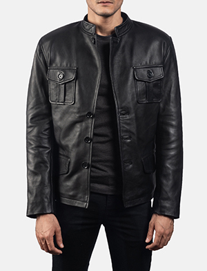 Mens Ray Cutler Black Leather Blazer