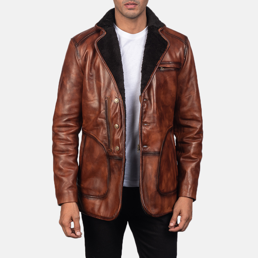 Mens Rocky Brown Fur Leather Coat 3