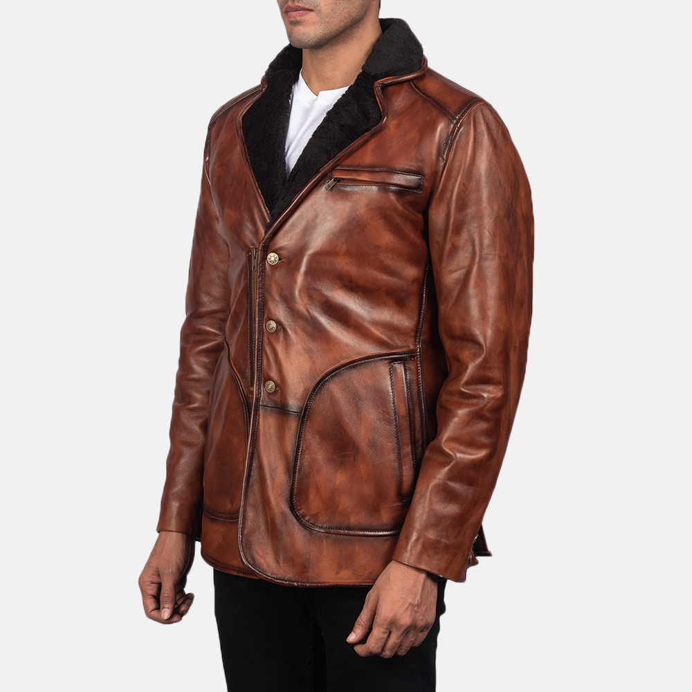 Mens Rocky Brown Fur Leather Coat 4