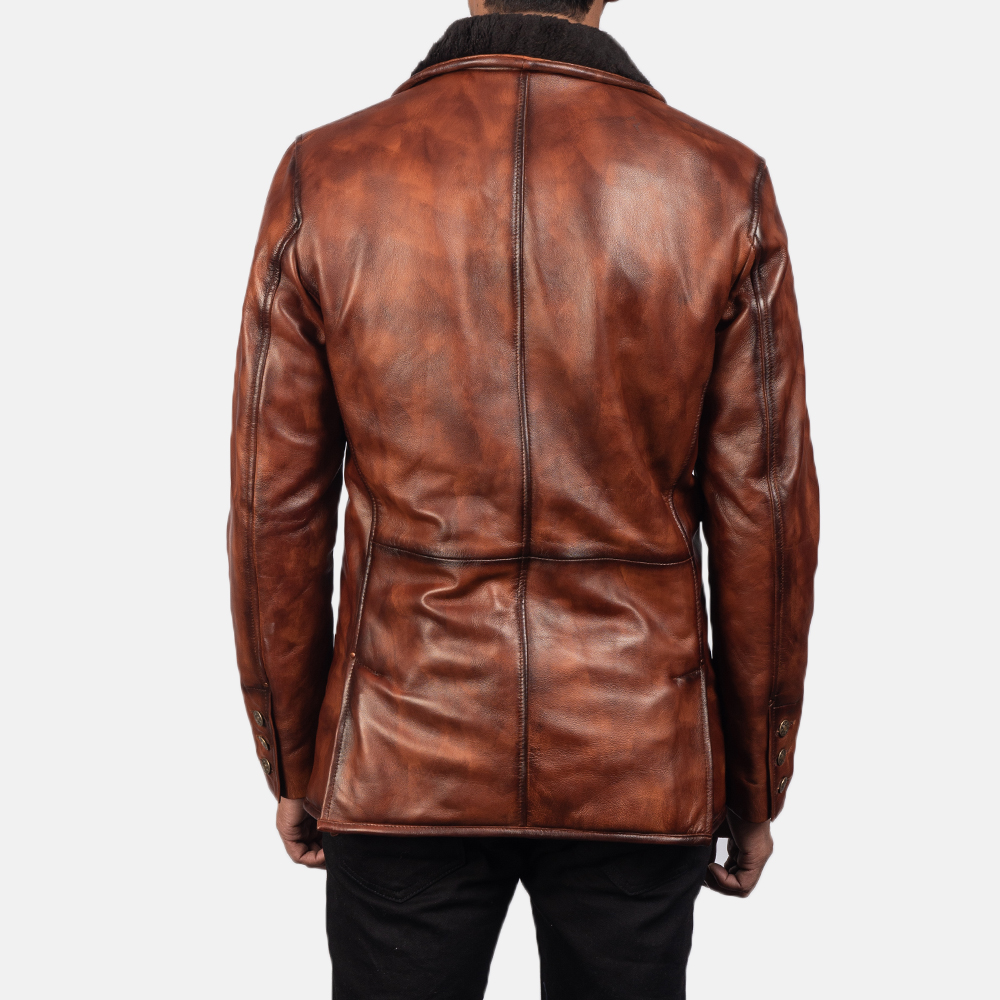 Mens Rocky Brown Fur Leather Coat 5