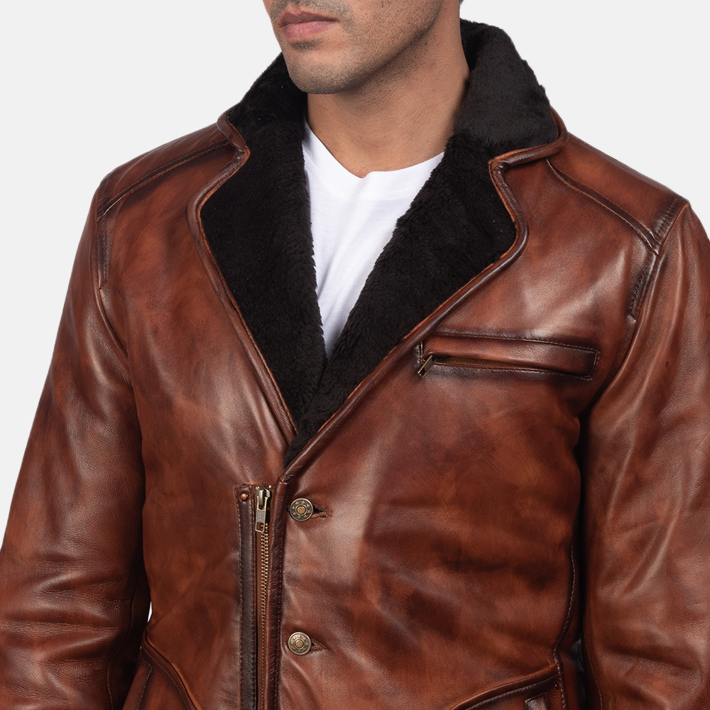 Mens Rocky Brown Fur Leather Coat 6