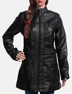 Womens Serene Black Leather Coat 1