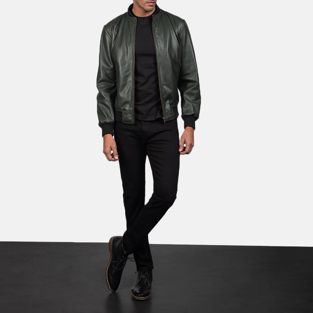 3dfbf28e9 Shane Green Leather Bomber Jacket