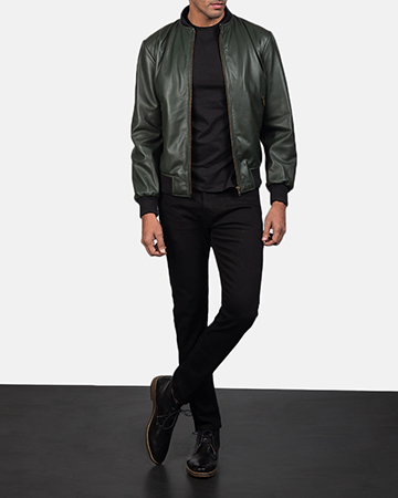 Mens Shane Green Leather Bomber Jacket 1