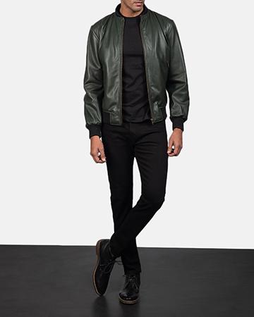 Mens Shane Green Leather Bomber Jacket 1