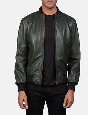 Shane green leather bomber jacket for men 2642 1550666304094