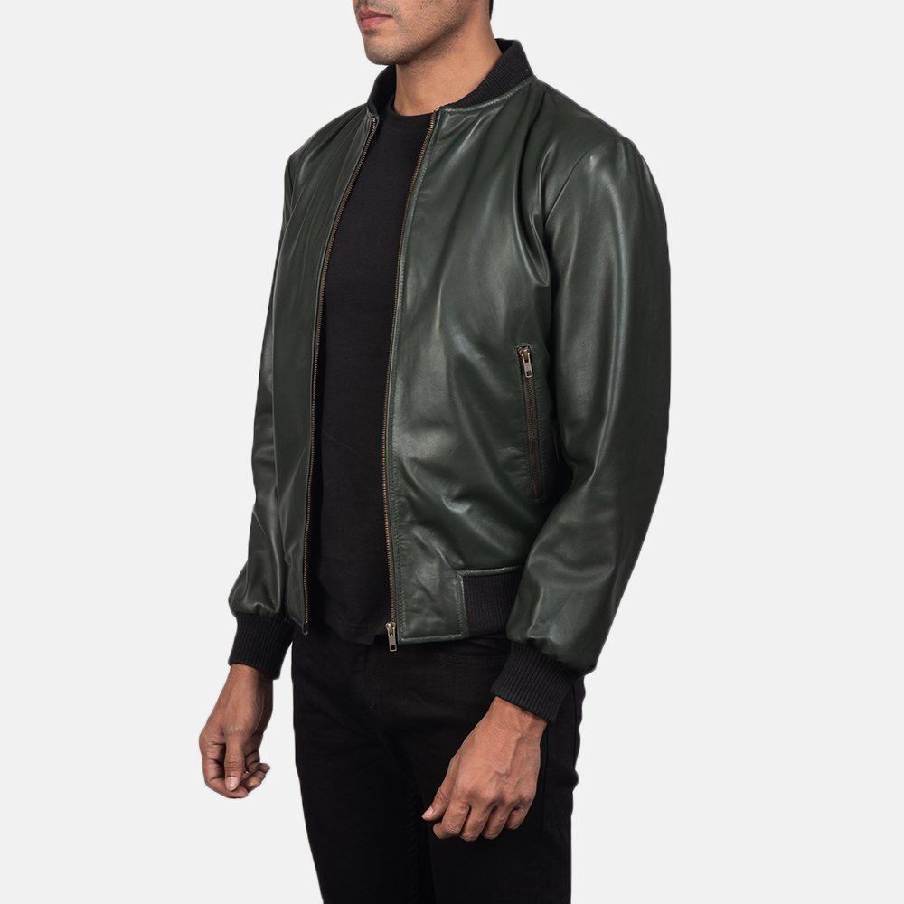 Mens Shane Green Leather Bomber Jacket 2